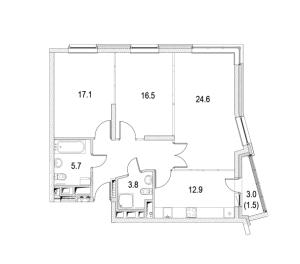 Планировка трехкомнатной квартиры в Фестиваль Парк